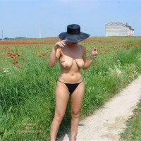 Black Tanga Panties - Nude Outdoors, Sexy Panties , Black Tanga Panties, Poppy Field Track Outdoors, Black Hat Hidden Face, Large Hanging Tits With Big Nipples