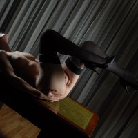 Masturbation On Table - Heels, Stockings , Table Top Pose, Sexy Lighting, Thigh High Stockings, Alone In Ecstacy, Fingering Pussy, Solo Performance, Black Thigh High Stockings, Wooden Flooring