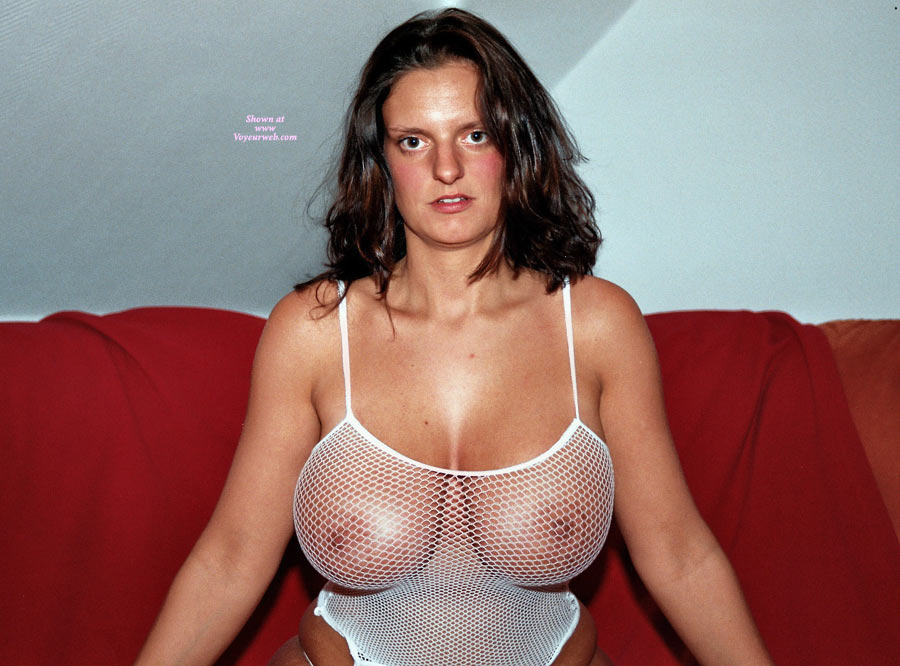 Big Knockers In Fishnet - Big Tits, Huge Tits , White Fishnet, Mesh Basque, Bodacious Boobs, Fishnet Tank Top, Heavy Hangers, A Big Handfull, White Mesh Tank Top