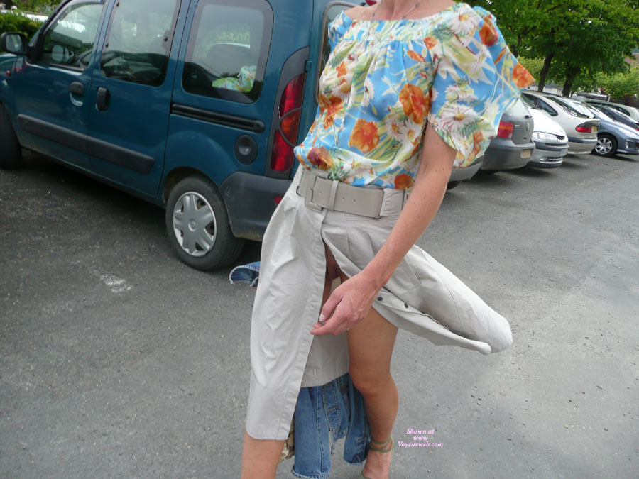 Flashing In A Parking Lot - Flashing, Pussy Flash , Unfastened,wind Blown Open, Skirt, Flowery Transparent Blouse, Peek A Boo, Glimpse Of Pussy, Sneaky Flash, Floral Print Blouse, Wind Gives Free Pussy View, Denim Jacket, Tan Front Slit Skirt