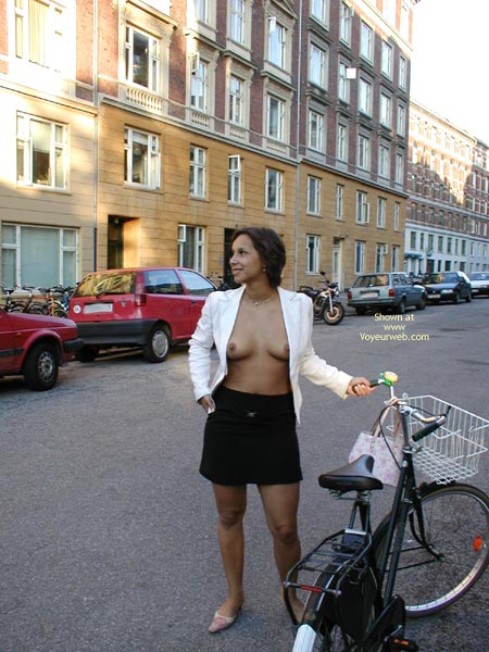 Flashing Tits In Public , Flashing Tits In Public, Bycicle, Open Blouse In Public