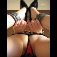 Ankle Cuffs - Bondage, Heels , Black Mini Skirt, Tight Mini Skirt, Shiny Black High Heel Shoes, Sexy Shoes, Erotic Amateur Photo, Red And Black Thong, Black Leather Cuffs, Closeup